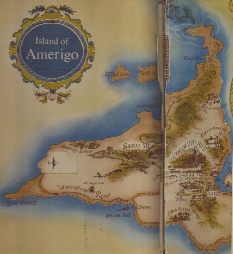 Map of the imaginary island of Amerigo