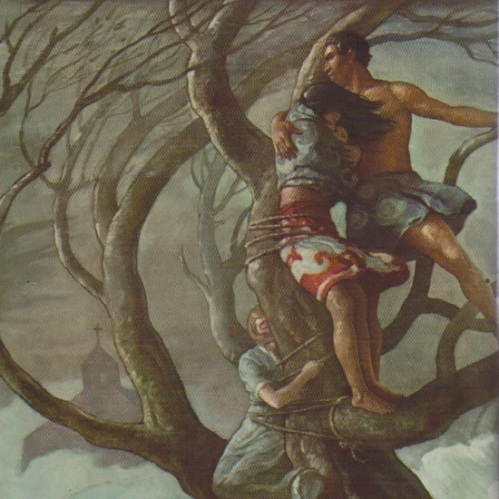 A man, a woman holding a baby, and a second woman cling to branches in a tree as hurricane roars.