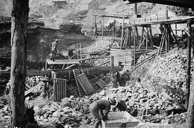 photograph of gold mining operation sluices