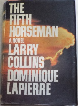 A nuclear explosion is background for type on cover of The Fifth Horseman